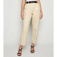 Stone Belted Denim Utility Trousers New Look