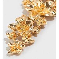 Gold Floral Drop Earrings New Look