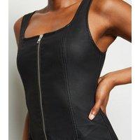 Black Leather-Look Denim Zip Front Bodycon Dress New Look