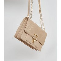 Camel Leather-Look Faux Croc Shoulder Bag New Look Vegan