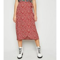 Red Floral Wrap Midi Skirt New Look