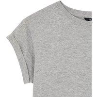 Girls Grey Roll Sleeve T-Shirt New Look