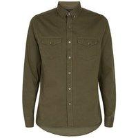 Men's Khaki Twill Long Sleeve Shirt New Look
