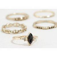 8 Pack Gold Gem Stacking Rings New Look