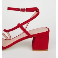 Red Suedette Strappy Mid Heel Sandals New Look Vegan