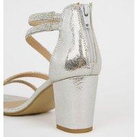 Girls Silver Glitter Diamante Block Heels New Look Vegan