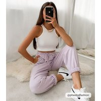 Lilac-Cuffed-Joggers-New-Look