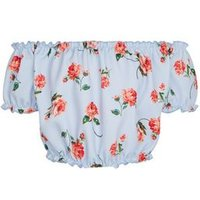 Girls Pale Blue Floral Bardot Top New Look