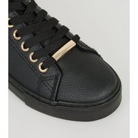 Girls Black Leather-Look Lace Up Trainers New Look Vegan