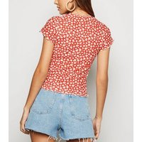 Red Daisy Ribbed Frill Trim T-Shirt New Look