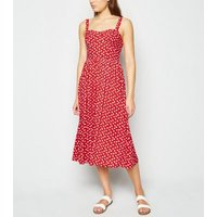 Red Ditsy Floral Bustier Midi Dress New Look