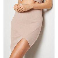 Stone Asymmetric Hem Wrap Skirt New Look