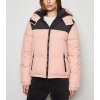 Pink Colour Block Hooded Puffer Jacket New Look