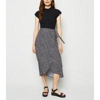 Black Daisy Wrap Midi Skirt New Look