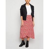 Petite Red Floral Wrap Midi Skirt New Look