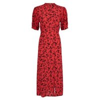 Red Floral High Neck Split Hem Midi Dress New Look