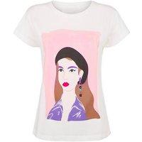 JDY White Retro Portrait Print T-Shirt New Look