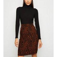 JDY Black Zebra Print Skirt New Look