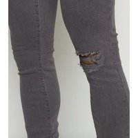 Dark Grey Ripped Spray On Skinny Jeans New Look