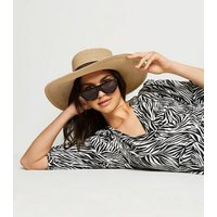 Stone Woven Straw Effect Floppy Hat New Look