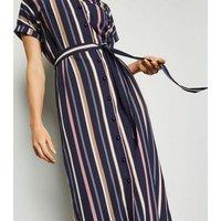 Mela Multicoloured Stripe Midi Shirt Dress New Look