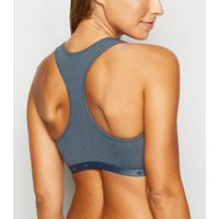 Grey Ribbed Star Elastic Crop Top New Look
