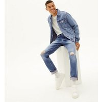 Mens-Blue-Ripped-Slim-Stretch-Jeans-New-Look