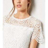 White Crochet T-Shirt New Look