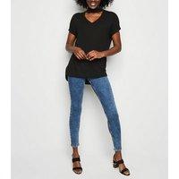 Black Fine Knit Choker Neck Top New Look