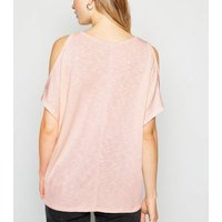 Pale Pink Fine Knit Cold Shoulder Top New Look