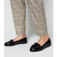 Wide Fit Black Patent Bow Tassel Loafers New Look