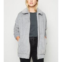 Pale Grey Ribbed Faux Fur Bomber Jacket New Look