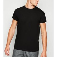 Black Roll Sleeve T-Shirt New Look