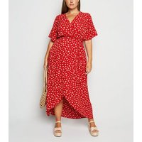 Curves Red Floral Wrap Maxi Dress New Look
