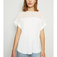 Off White Mesh Panel T-Shirt New Look