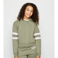 Girls Olive Stripe Sleeve Hoodie New Look