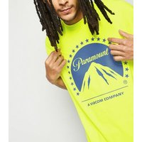 Yellow Washed Neon Paramount Logo T-Shirt New Look