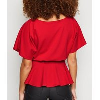 Red Belted Batwing Top New Look
