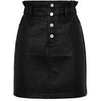 Black Coated Leather-Look High Waist Skirt New Look
