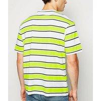 Green Neon Stripe T-Shirt New Look