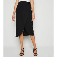 Black Ribbed Wrap Midi Skirt New Look