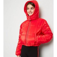 Girls Red Hooded Puffer Jacket New Look
