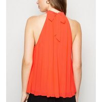 Red Pleated Halterneck Top New Look