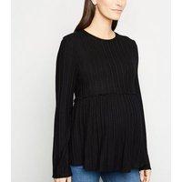 Maternity Black Fine Knit Peplum Top New Look