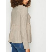 Maternity Off White Fine Knit Peplum Top New Look