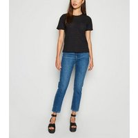 Black Broderie Cotton T-Shirt New Look
