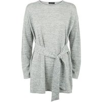 Dark Grey Fine Knit Belted Tunic Top New Look