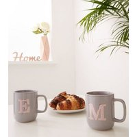 Dark Grey Speckled M Initial Mug New Look