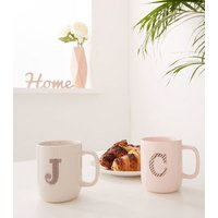 Pale Grey Speckled J Initial Mug New Look