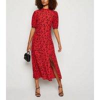 Tall Red Floral Side Split Midi Dress New Look